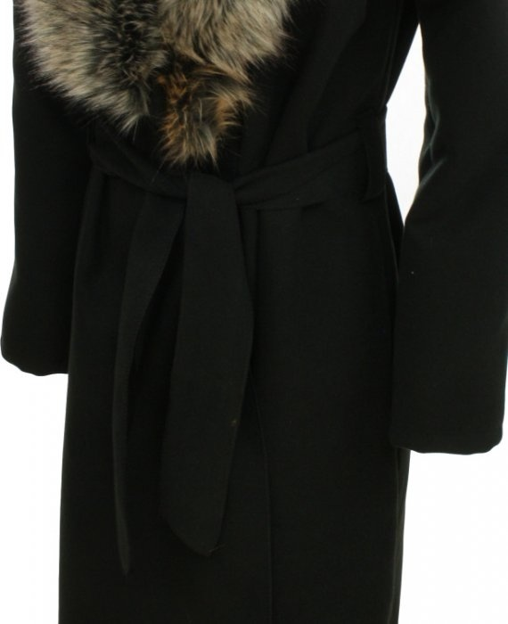 Dlouhý vlněný kabát černý s umělou kožešinou - JDFashion.cz b5635874520