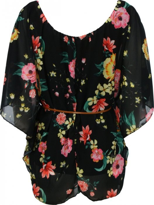 Tunika černá s květinami - JDFashion.cz 8de2b3ebae
